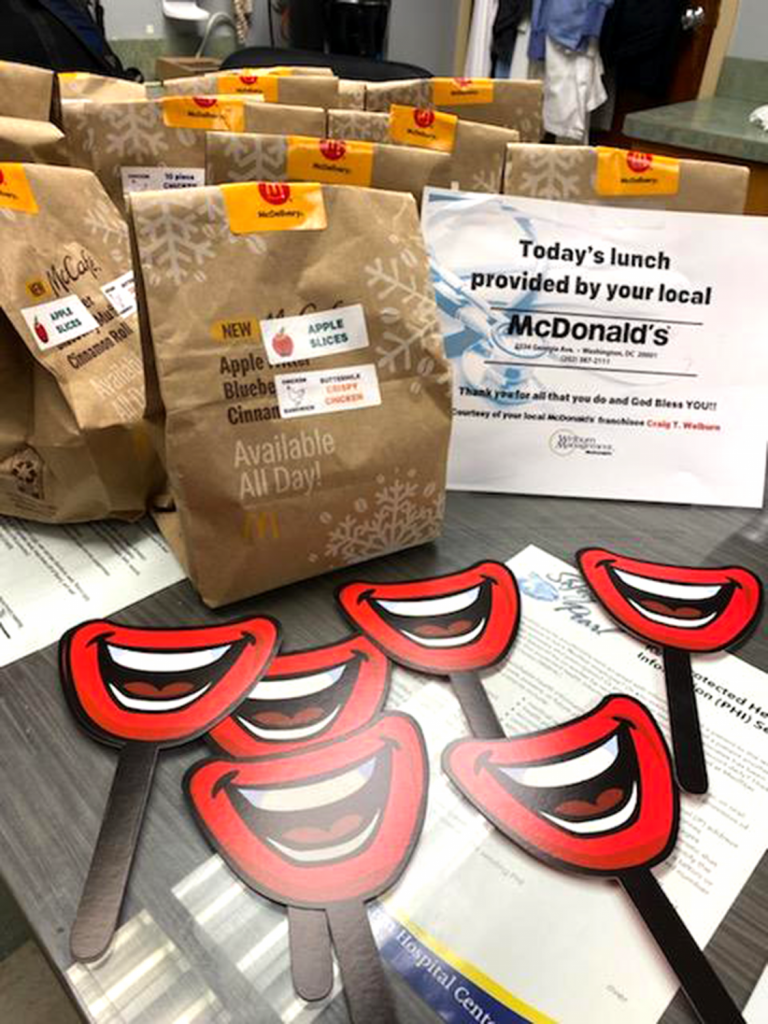 Medstar Hospital Hero Thank You Meals - Bags Sign and Ronald Smiles